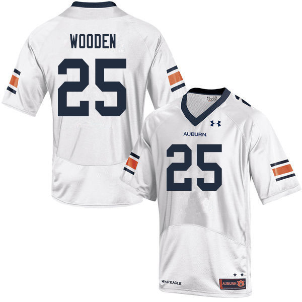 Men #25 Colby Wooden Auburn Tigers College Football Jerseys Sale-White