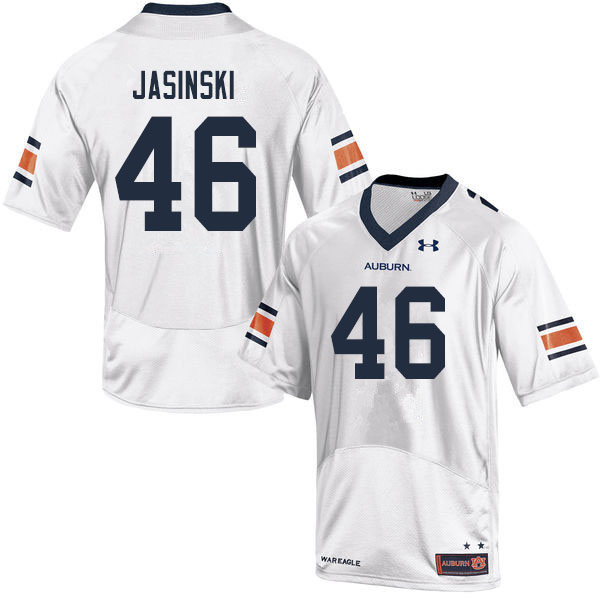 Men #46 Jacob Jasinski Auburn Tigers College Football Jerseys Sale-White