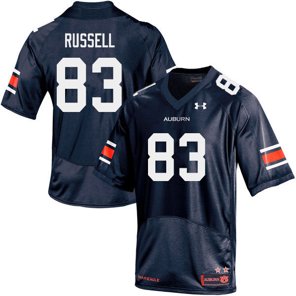 Men #83 Malcolm Russell Auburn Tigers College Football Jerseys Sale-Navy