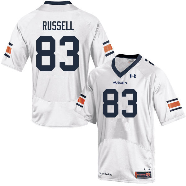 Men #83 Malcolm Russell Auburn Tigers College Football Jerseys Sale-White