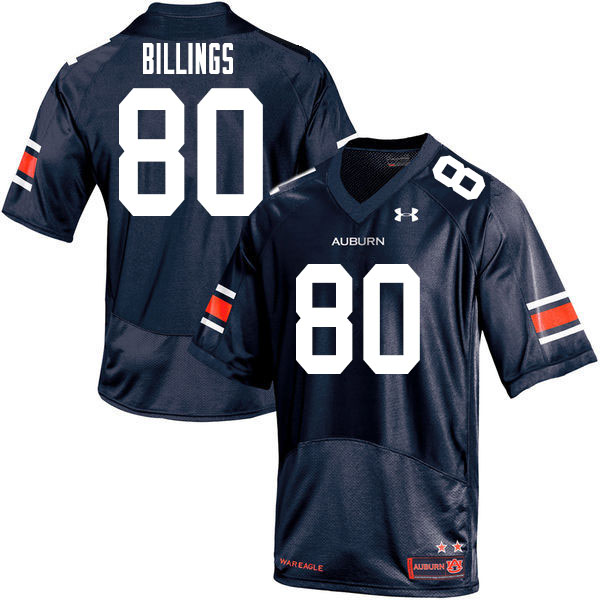 Men #80 Jackson Billings Auburn Tigers College Football Jerseys Sale-Navy