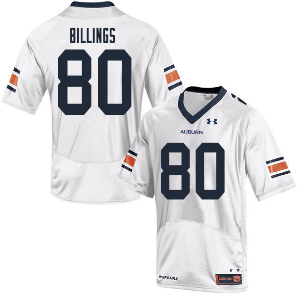 Men #80 Jackson Billings Auburn Tigers College Football Jerseys Sale-White