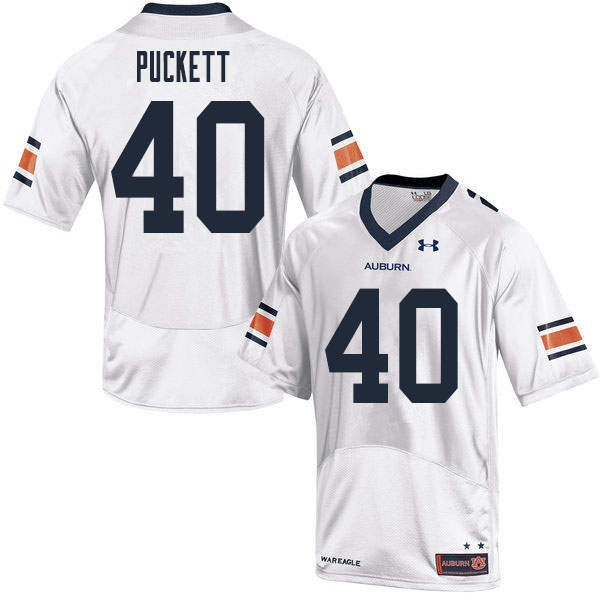 Men #40 Jacoby Puckett Auburn Tigers College Football Jerseys Sale-White