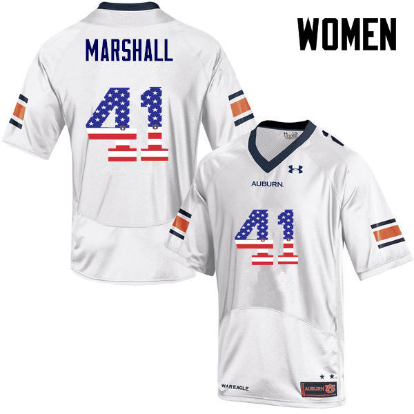 Women #41 Aidan Marshall Auburn Tigers USA Flag Fashion College Football Jerseys-White