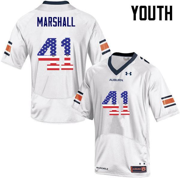Youth #41 Aidan Marshall Auburn Tigers USA Flag Fashion College Football Jerseys-White