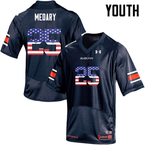 Youth #25 Alex Medary Auburn Tigers USA Flag Fashion College Football Jerseys-Navy