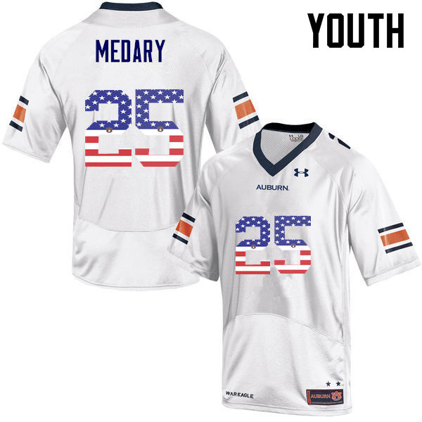 Youth #25 Alex Medary Auburn Tigers USA Flag Fashion College Football Jerseys-White