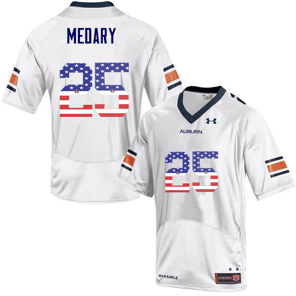 Men #25 Alex Medary Auburn Tigers USA Flag Fashion College Football Jerseys-White