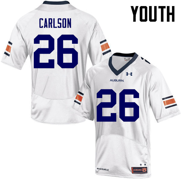 Youth Auburn Tigers #26 Anders Carlson College Football Jerseys-White