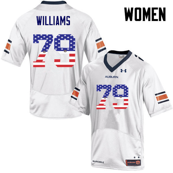 Women #79 Andrew Williams Auburn Tigers USA Flag Fashion College Football Jerseys-White