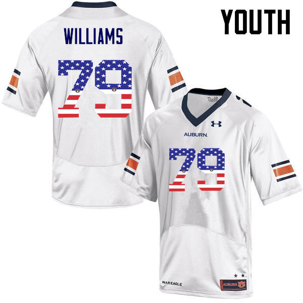 Youth #79 Andrew Williams Auburn Tigers USA Flag Fashion College Football Jerseys-White