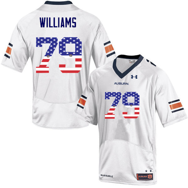 Men #79 Andrew Williams Auburn Tigers USA Flag Fashion College Football Jerseys-White