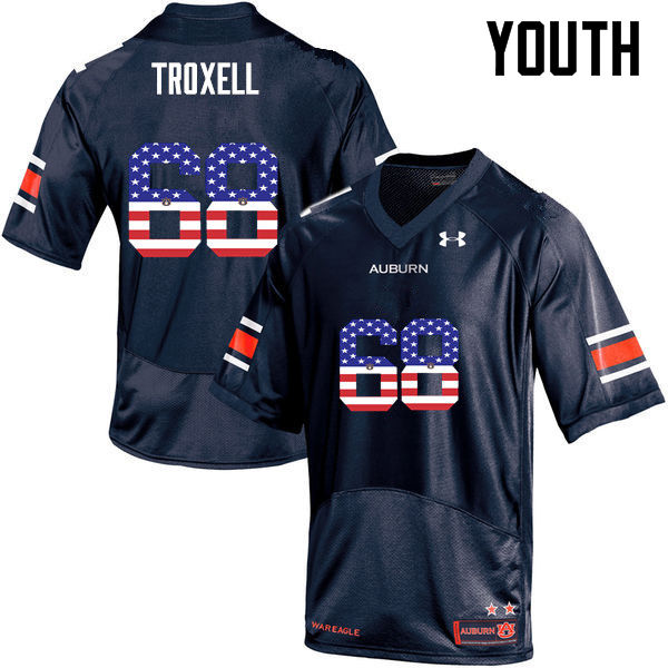 Youth #68 Austin Troxell Auburn Tigers USA Flag Fashion College Football Jerseys-Navy