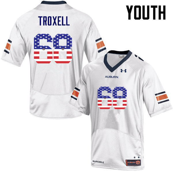 Youth #68 Austin Troxell Auburn Tigers USA Flag Fashion College Football Jerseys-White