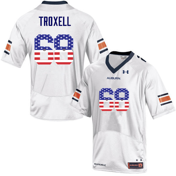Men #68 Austin Troxell Auburn Tigers USA Flag Fashion College Football Jerseys-White