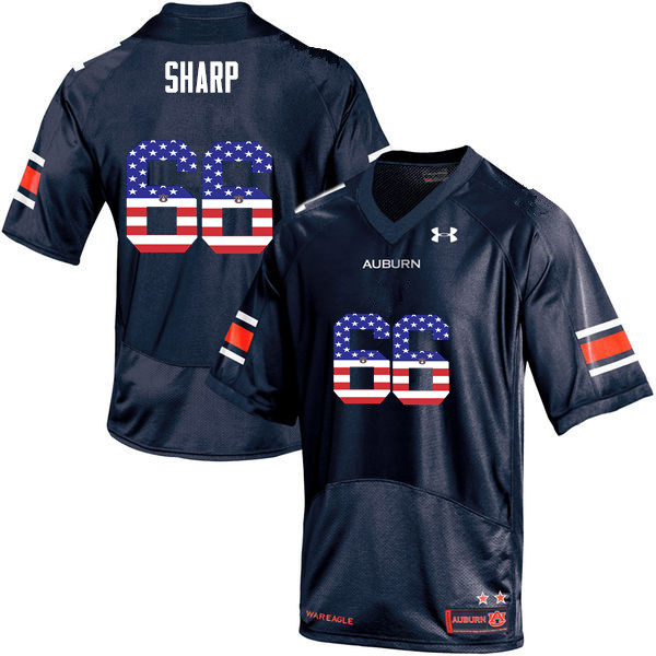Men #66 Bailey Sharp Auburn Tigers USA Flag Fashion College Football Jerseys-Navy