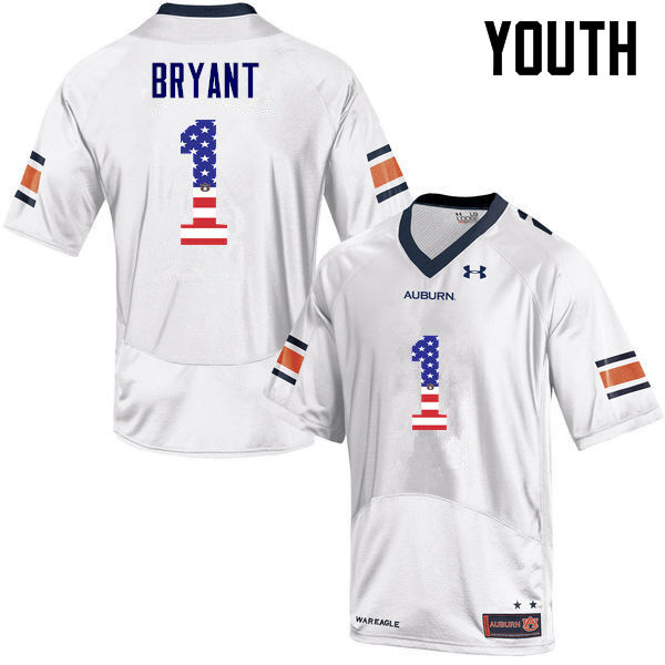 Youth #1 Big Cat Bryant Auburn Tigers USA Flag Fashion College Football Jerseys-White