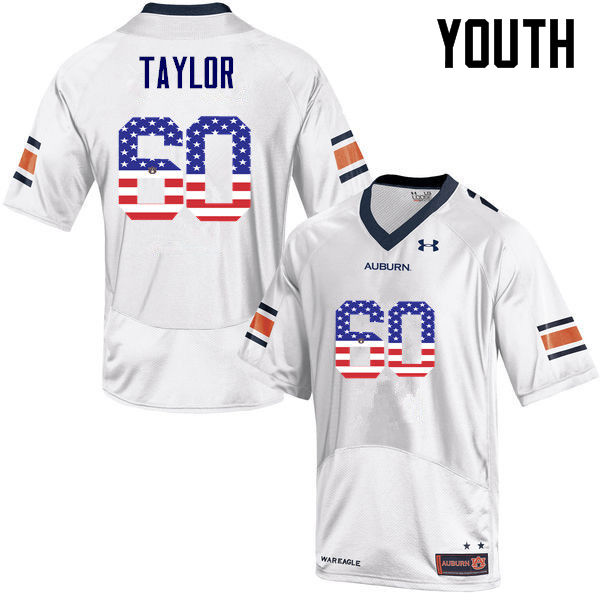 Youth #60 Bill Taylor Auburn Tigers USA Flag Fashion College Football Jerseys-White