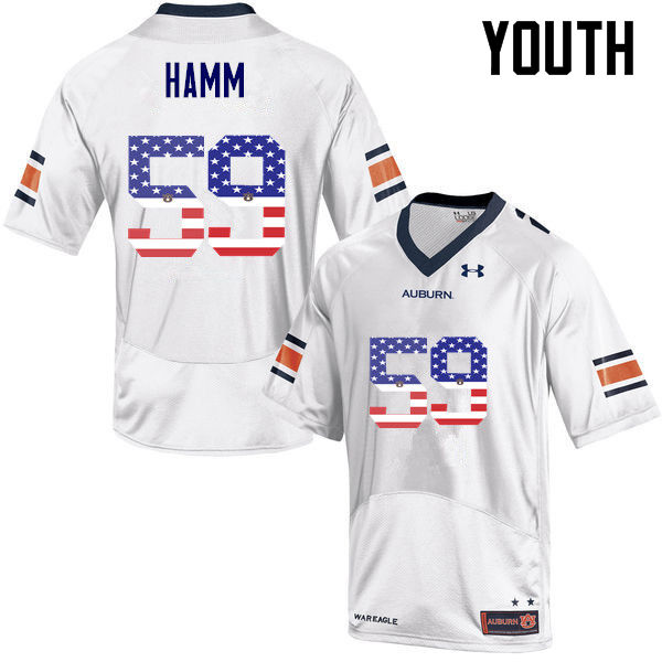 Youth #59 Brodarious Hamm Auburn Tigers USA Flag Fashion College Football Jerseys-White