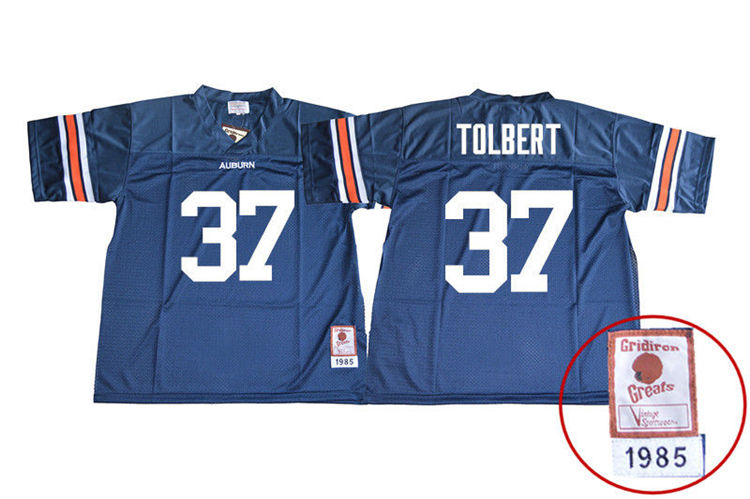 1985 Throwback Men #37 C.J. Tolbert Auburn Tigers College Football Jerseys Sale-Navy