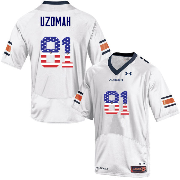 Men #81 C.J. Uzomah Auburn Tigers USA Flag Fashion College Football Jerseys-White