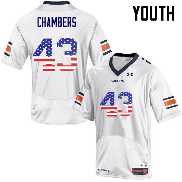 Youth #43 Cedric Chambers Auburn Tigers USA Flag Fashion College Football Jerseys-White