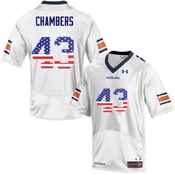 Men #43 Cedric Chambers Auburn Tigers USA Flag Fashion College Football Jerseys-White