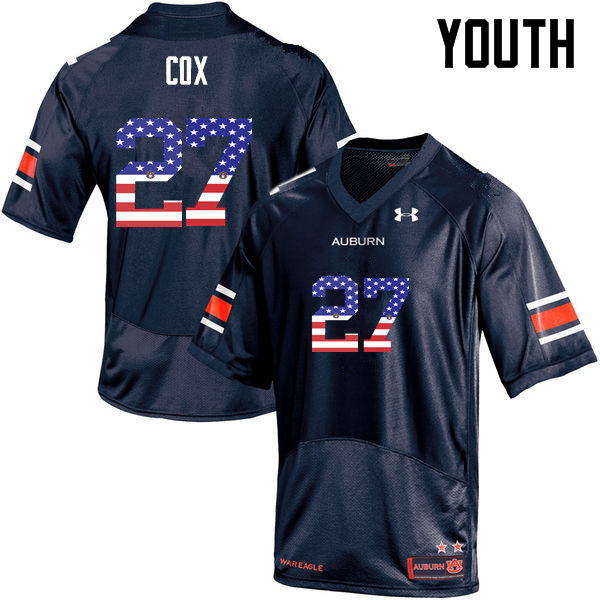 Youth #27 Chandler Cox Auburn Tigers USA Flag Fashion College Football Jerseys-Navy