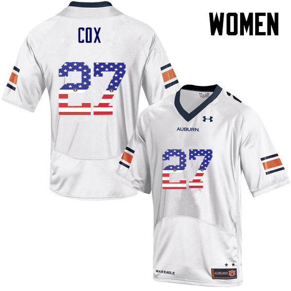 Women #27 Chandler Cox Auburn Tigers USA Flag Fashion College Football Jerseys-White