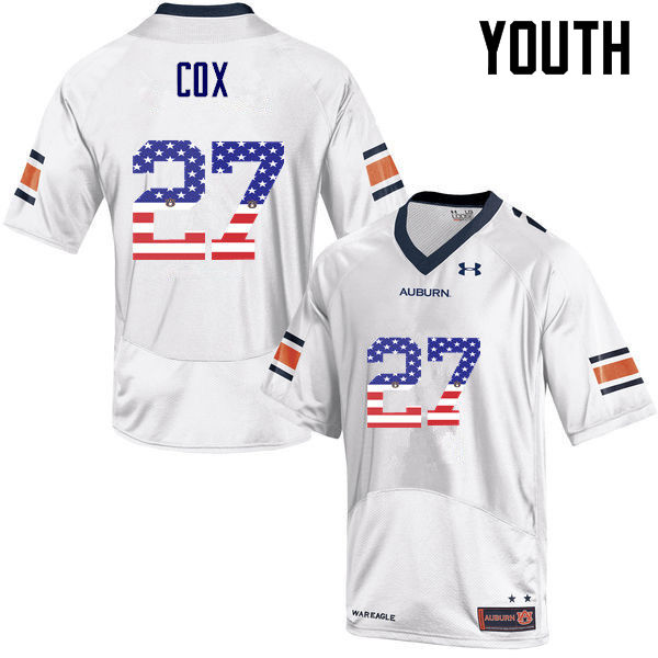 Youth #27 Chandler Cox Auburn Tigers USA Flag Fashion College Football Jerseys-White