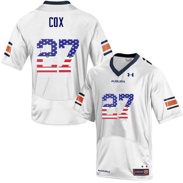 Men #27 Chandler Cox Auburn Tigers USA Flag Fashion College Football Jerseys-White