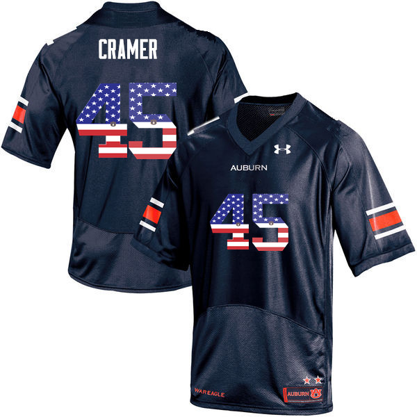 Men #45 Chase Cramer Auburn Tigers USA Flag Fashion College Football Jerseys-Navy