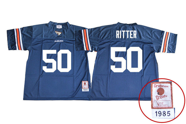 1985 Throwback Men #50 Chase Ritter Auburn Tigers College Football Jerseys Sale-Navy