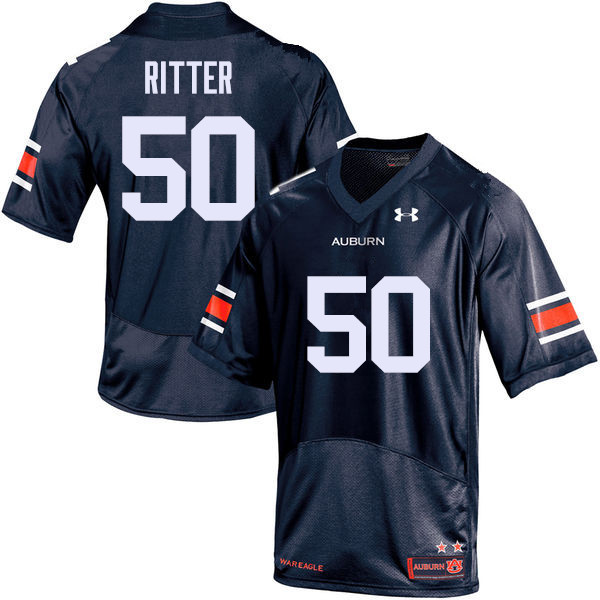 Men Auburn Tigers #50 Chase Ritter College Football Jerseys Sale-Navy
