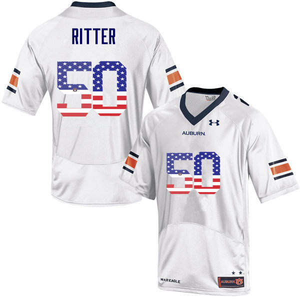 Men #50 Chase Ritter Auburn Tigers USA Flag Fashion College Football Jerseys-White