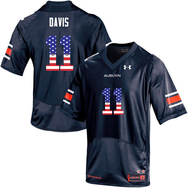 Men #11 Chris Davis Auburn Tigers USA Flag Fashion College Football Jerseys-Navy