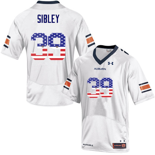 Men #39 Conner Sibley Auburn Tigers USA Flag Fashion College Football Jerseys-White