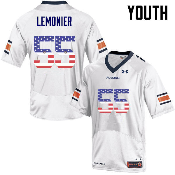 Youth #55 Corey Lemonier Auburn Tigers USA Flag Fashion College Football Jerseys-White