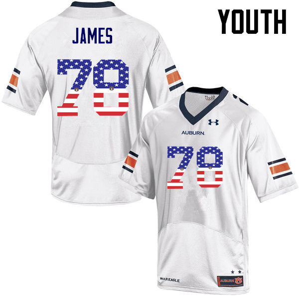 Youth #78 Darius James Auburn Tigers USA Flag Fashion College Football Jerseys-White