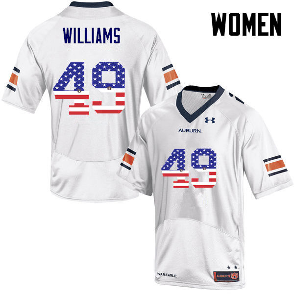 Women #49 Darrell Williams Auburn Tigers USA Flag Fashion College Football Jerseys-White