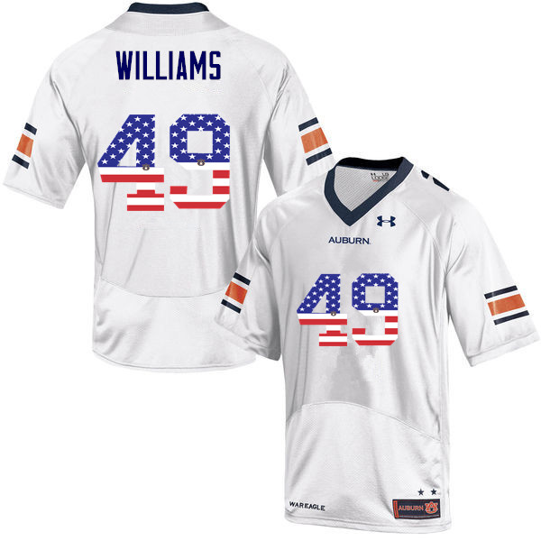 Men #49 Darrell Williams Auburn Tigers USA Flag Fashion College Football Jerseys-White
