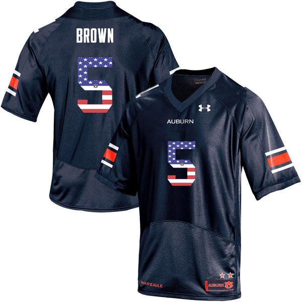9d82c819e Men  5 Derrick Brown Auburn Tigers USA Flag Fashion College Football Jerseys -Navy