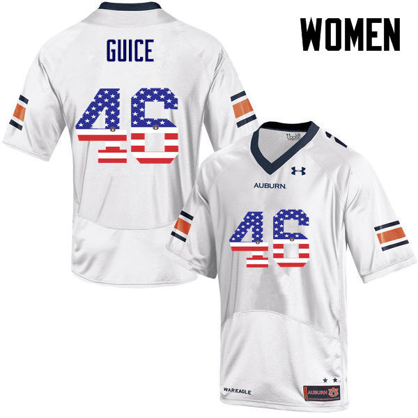 Women #46 Devin Guice Auburn Tigers USA Flag Fashion College Football Jerseys-White