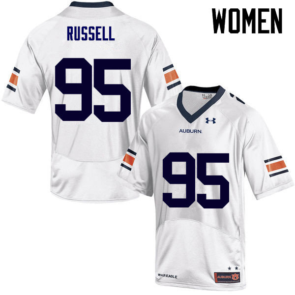 Women Auburn Tigers #95 Dontavius Russell College Football Jerseys Sale-White