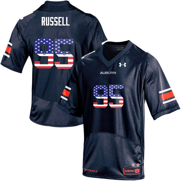 Men #95 Dontavius Russell Auburn Tigers USA Flag Fashion College Football Jerseys-Navy