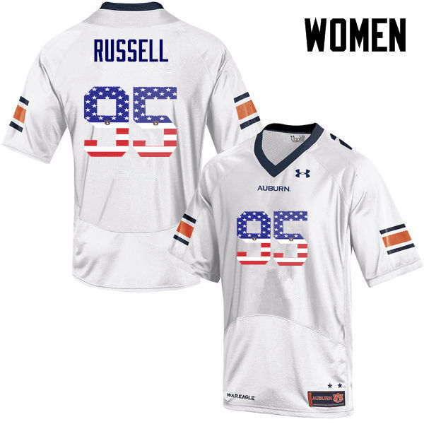 Women #95 Dontavius Russell Auburn Tigers USA Flag Fashion College Football Jerseys-White