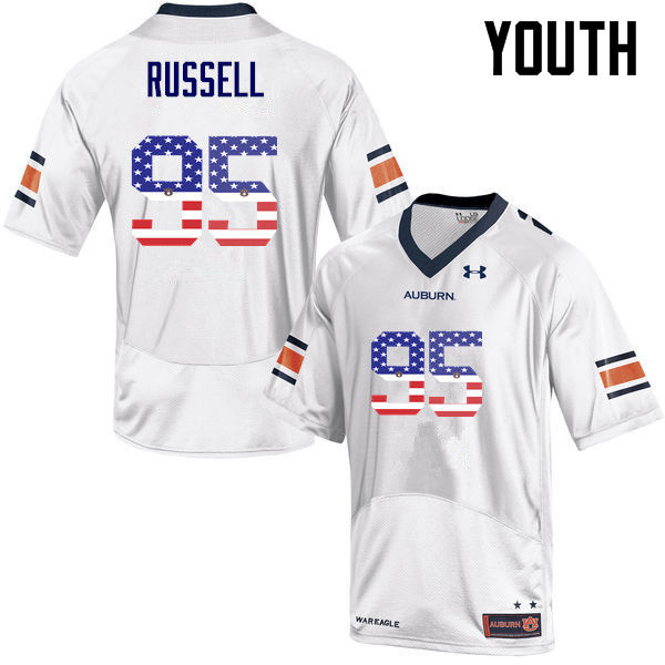 Youth #95 Dontavius Russell Auburn Tigers USA Flag Fashion College Football Jerseys-White
