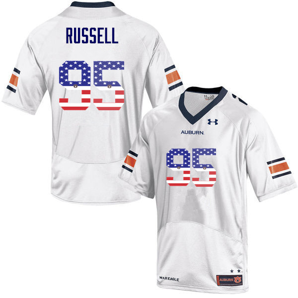 Men #95 Dontavius Russell Auburn Tigers USA Flag Fashion College Football Jerseys-White