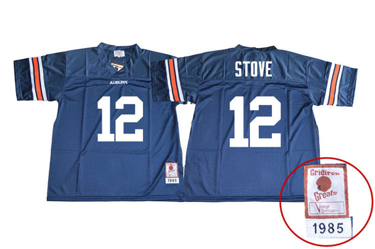1985 Throwback Men #12 Eli Stove Auburn Tigers College Football Jerseys Sale-Navy