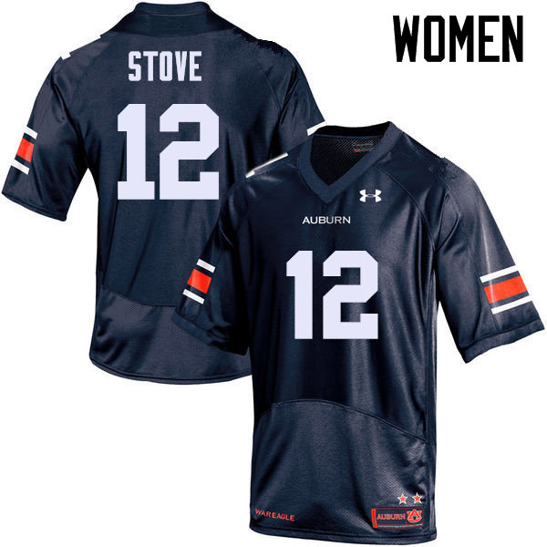 Women Auburn Tigers #12 Eli Stove College Football Jerseys Sale-Navy